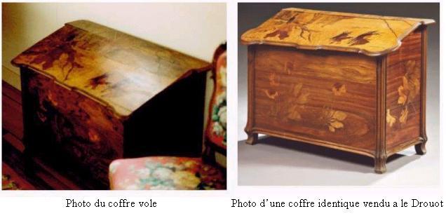 Emile Galle - Coffre à bois - scène de bûcheronnage Voleco10