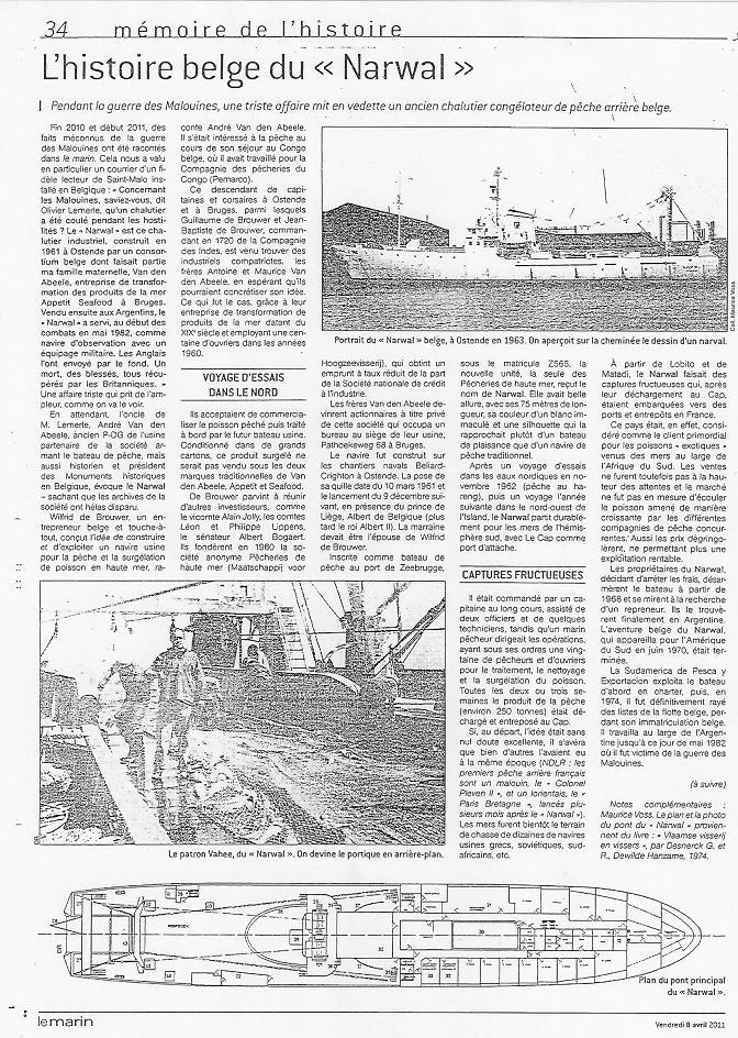 NARWAL, ex navire belge coulé durant la guerre des Malouines 111