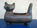 pottery cat with green eyes Potter11