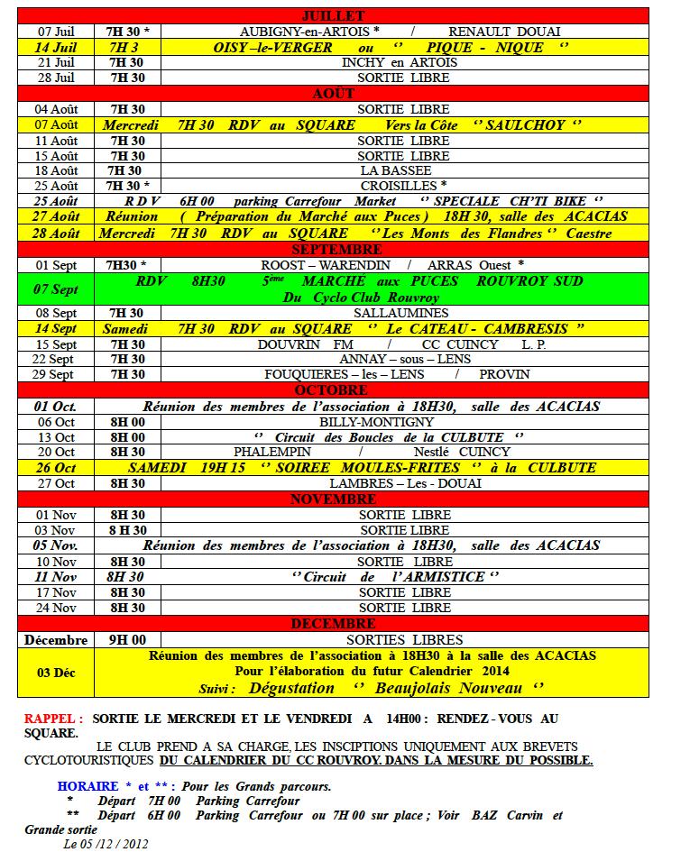 calendrier des sorties 2013 Calend13