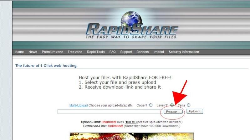 Como fazer uploads para o RapidShare! Passo110