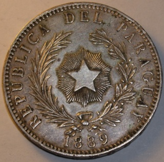 Paraguay, 1 peso, 1889; Mexico, 8 reales, 1877. _2142736