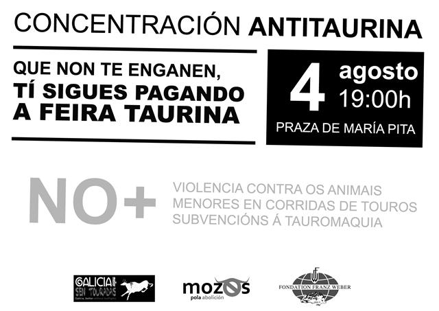 Concentración de protesta por la feria taurina, el 4 de agosto Cartel13
