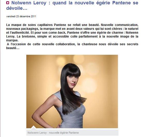 Nolwenn Leroy, Nouvelle égérie Pantène  1101