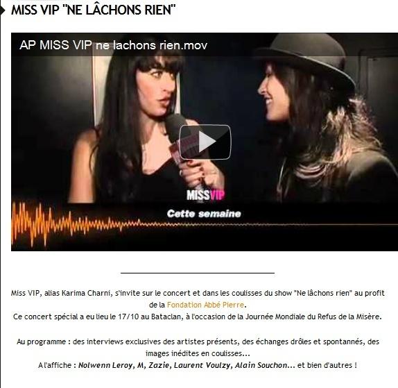 """Miss VIP """"Ne lâchons rien"""" - M6 Music Hits le 12 Novembre à 15H00  1113"""