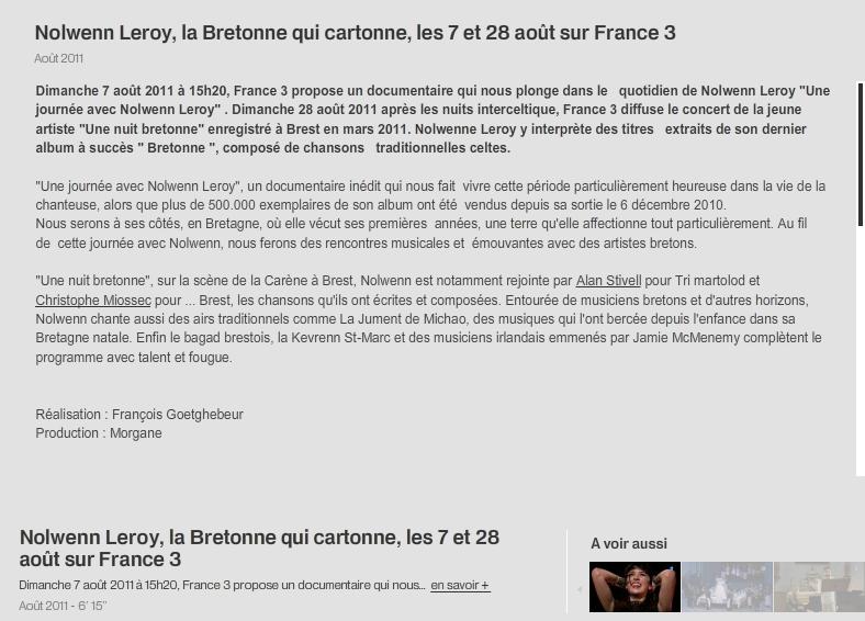 Rediffusion du Concert de la Carène  le 28 aout et du reportage sur Nolwenn le 7 Aout sur France3  122