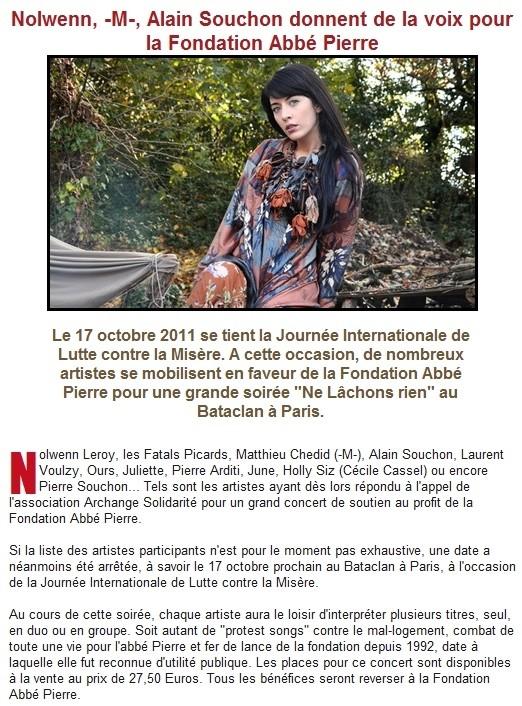Concert de soutien à la Fondation Abbé Pierre au Bataclan le 17 Octobre  13113310