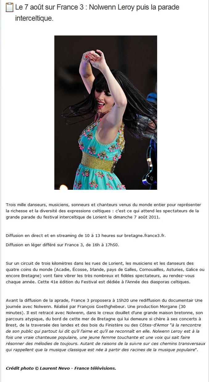 Rediffusion du Concert de la Carène  le 28 aout et du reportage sur Nolwenn le 7 Aout sur France3  13114010