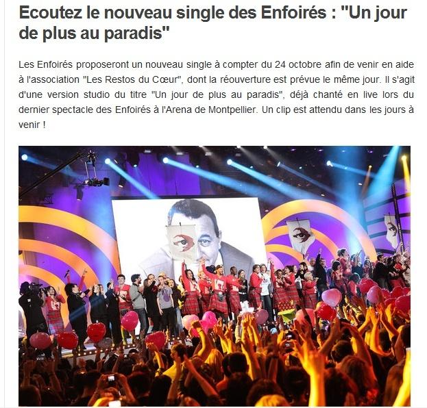 """Le nouveau single des Enfoirés : """"Un jour de plus au paradis""""  140"""