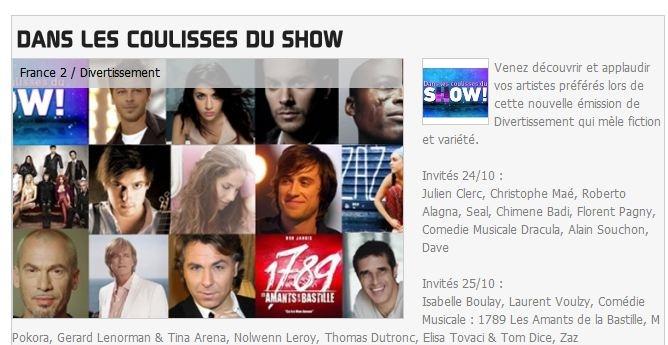 {TV} France 2 Dans les Coulisses du Show enregistrement le 25 Octobre, diffusion le 12 Novembre 1_bmp14