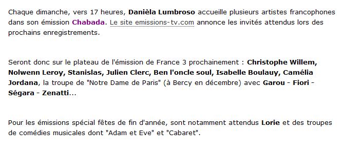 {TV}France 3 -  Chabada 24 Octobre 2011 ( Non présence de Nolwenn )  323