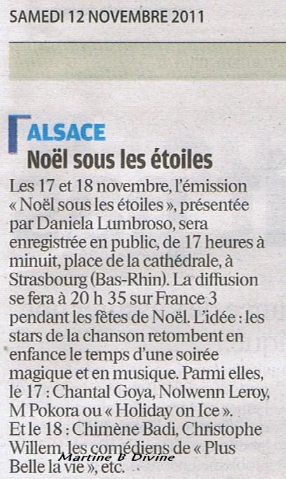 """{TV}France 3 - """"Noël sous les Etoiles"""" -  Diffusion 21 Décembre  Alsace10"""