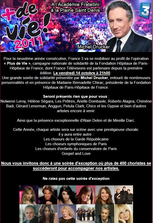{TV} France 3 -  Plus de Vie le 17 Octobre 2011 à 20h35  Plusde10