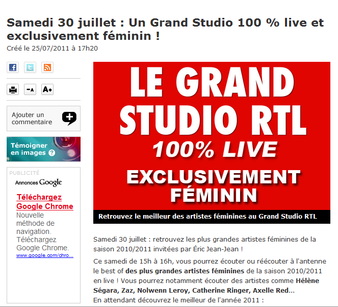 {Radio} Best Of. Le Grand Studio - RTL Samedi 30 Juillet 2011  Rtl10