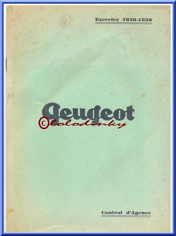 Peugeot contrat d' AGENCE 1938/39 Contra10