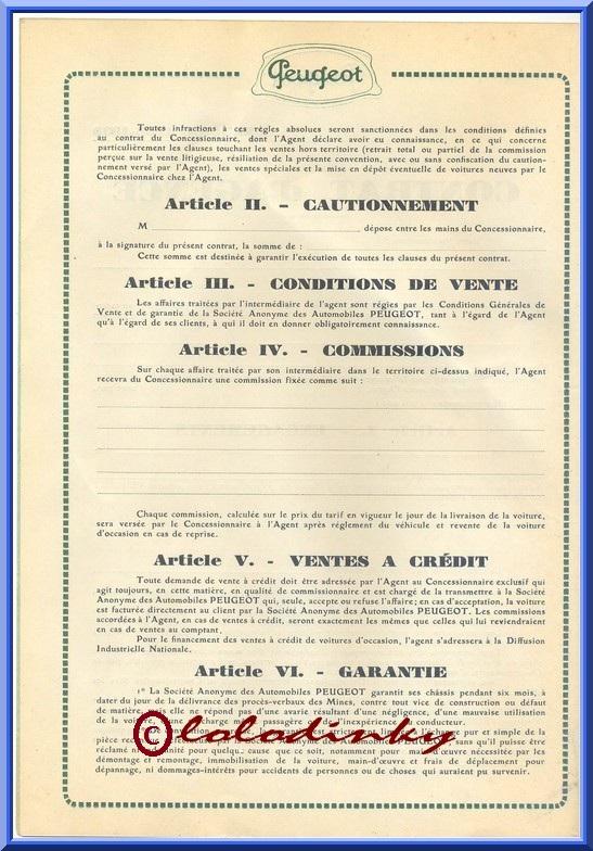 Peugeot contrat d' AGENCE 1938/39 Contra12