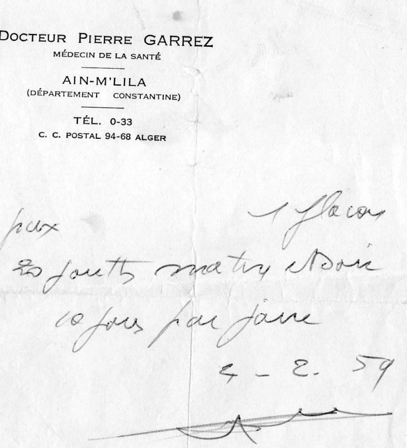 Ordonnace du Docteur Garrez en 1957 D_pier13
