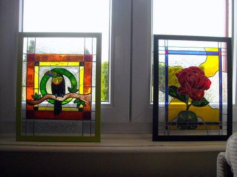 mes 4 vitraux en expo Dscn3218