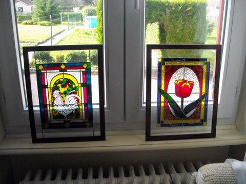 mes 4 vitraux en expo Dscn3219