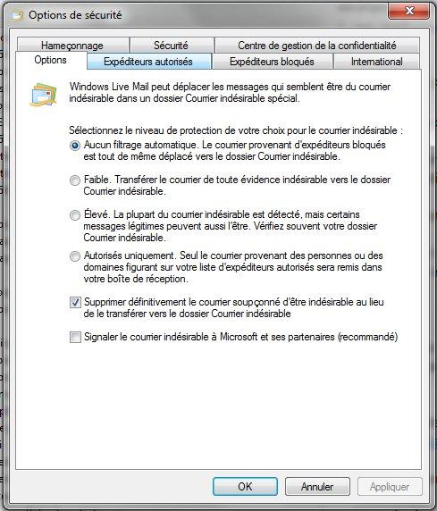 Filtre anti-spam Option10