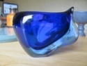 Blue cased glass bowl 00110