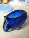 Blue cased glass bowl 00311