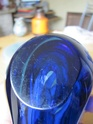 Blue cased glass bowl 00411