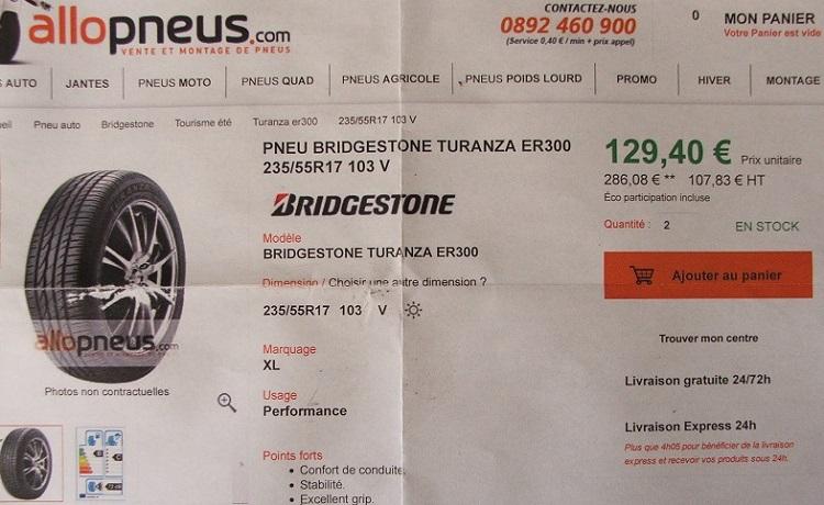 4 pneus 235/55R17 Bridgestone quasi neuf-petit prix Dscf5113