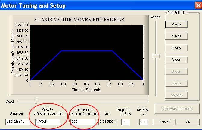Comment changer la vitesse de déplacement en rapide dans Mach3 ? Motort10