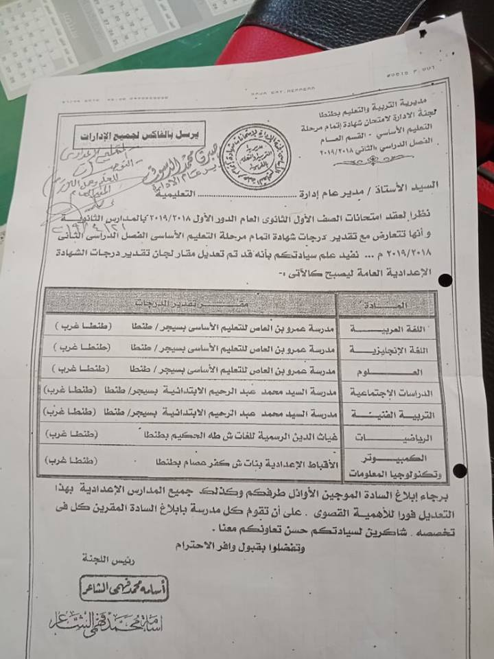 نشرة تعديل فى مقار لجان تقدير درجات إعدادى لتعارضها مع امتحانات الأول الثانوى فى بعض المحافظات 57587010