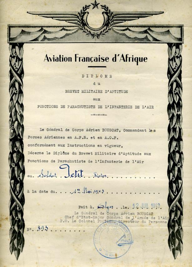 893 - 1er RCP - Diplôme Para Infanterie de l'Air 1er mai 1943 Brevet13