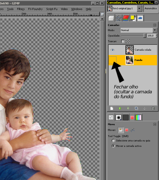 RETIRAR FUNDO DE UMA FOTO NO GIMP Paso1210