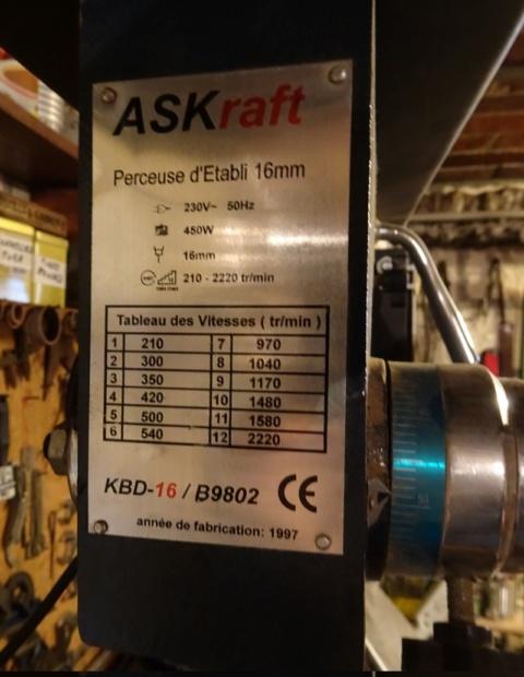 Re motorisation Perceuse à colonne ASKraft Perceu15