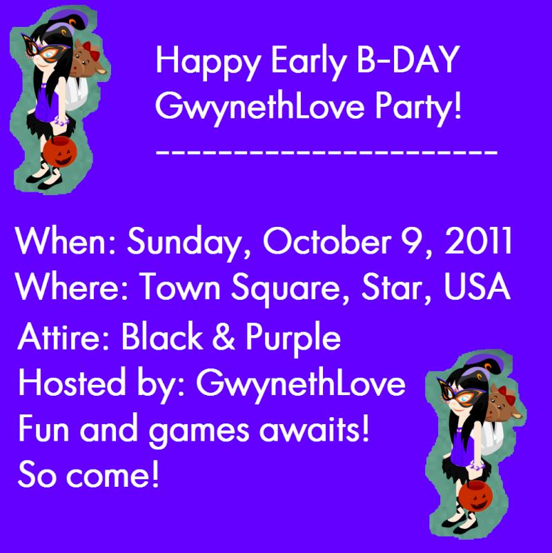 Happy Early Birthday GwynethLove Party! TODAY-Teddy Terrace! Invita11