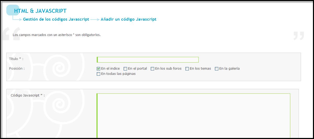 Gestión de los codigos Javascript directamente dentro del PA Js310
