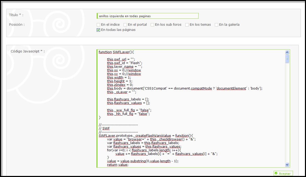 Gestión de los codigos Javascript directamente dentro del PA Js410
