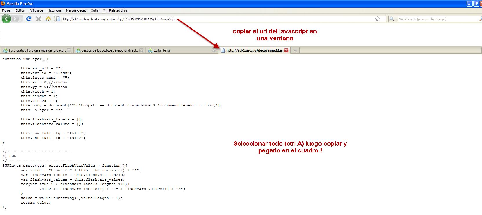 Gestión de los codigos Javascript directamente dentro del PA Jvs20010