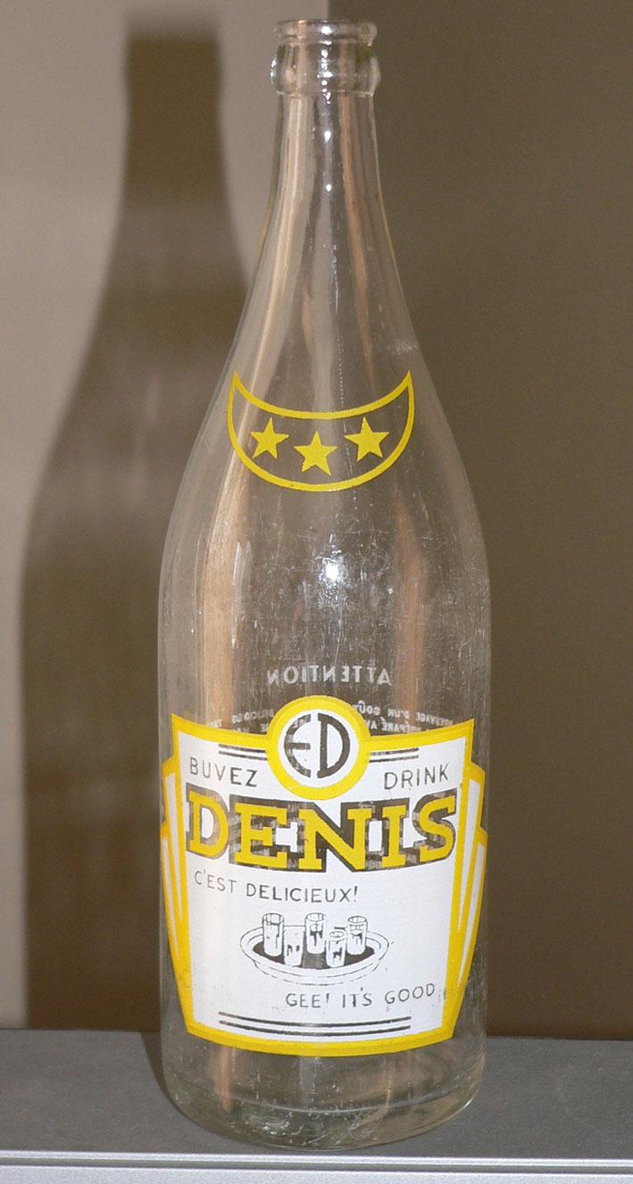 Bouteille de liqueur E. DENIS - Montréal / ACL jaune et blanc - 30oz Denis-10