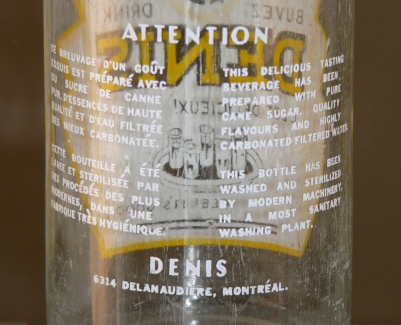 Bouteille de liqueur E. DENIS - Montréal / ACL jaune et blanc - 30oz Denis-12
