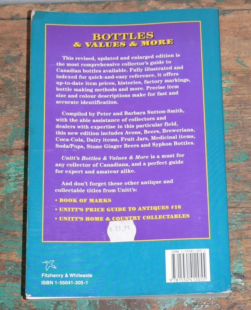 Livre 'Unitt's / Bottles & values & more' - livre de référence sur les bouteilles du Canada Livre110