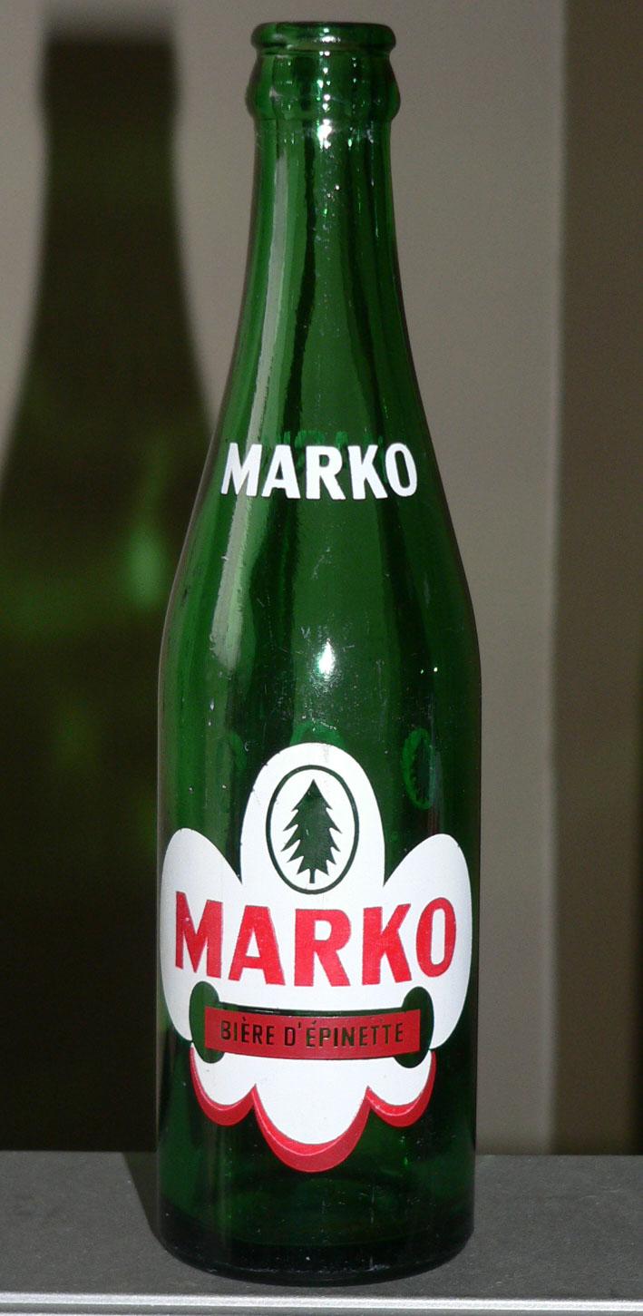 """Bouteille de liqueur ACL """"Bière d'épinette MARKO"""" verte de JOLIETTE, PQ - 10oz Markoa10"""