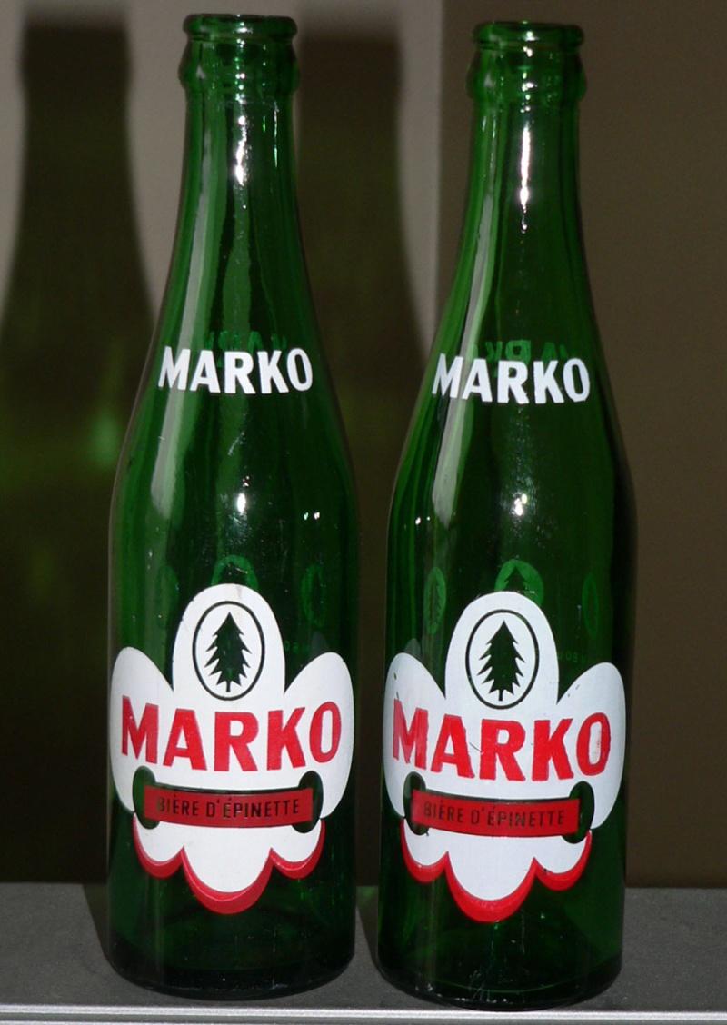 """Bouteille de liqueur ACL """"Bière d'épinette MARKO"""" verte de JOLIETTE, PQ - 10oz Markoa12"""