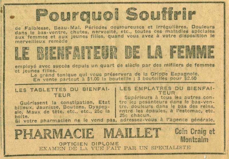 Publicité de la Pharmacie Maillet de Montréal - La Presse 15 mai 1920 Pharma10