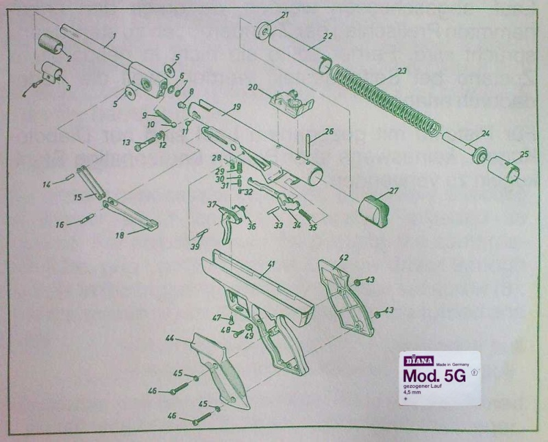 Vue éclatée Pistolet à air comprimé DIANA 5G - 4,5mm Vue_ec11