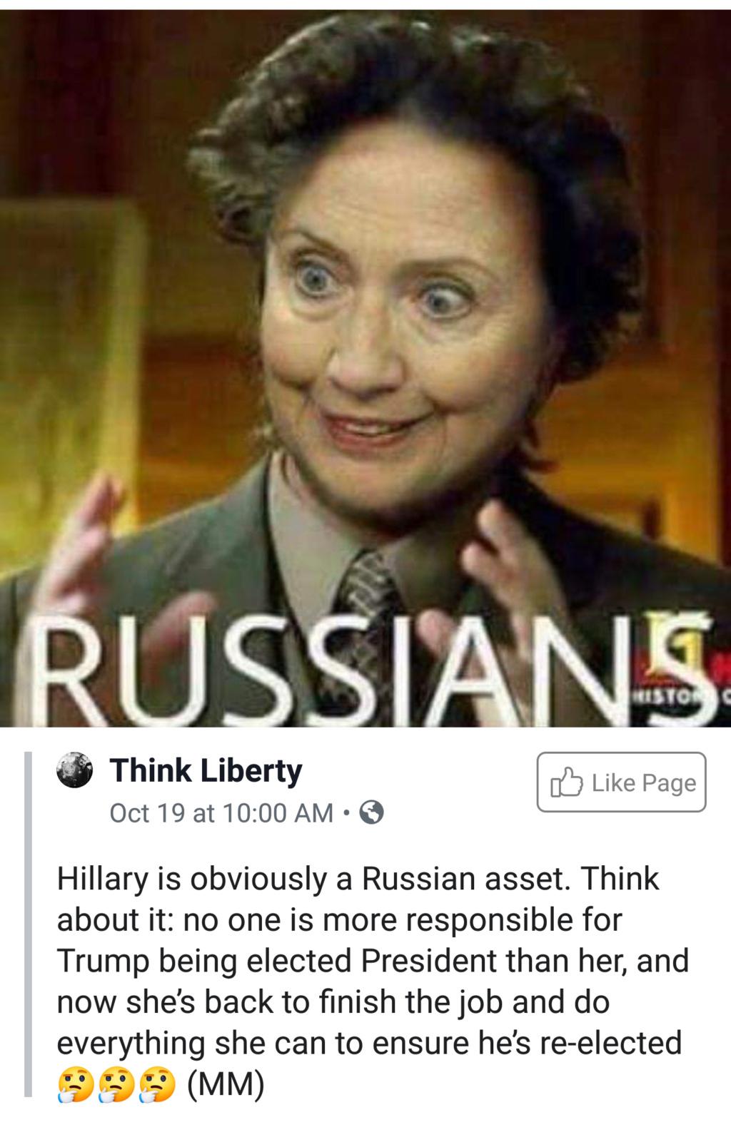 Hillary implies Tulsi is a Russian asset.   20191010