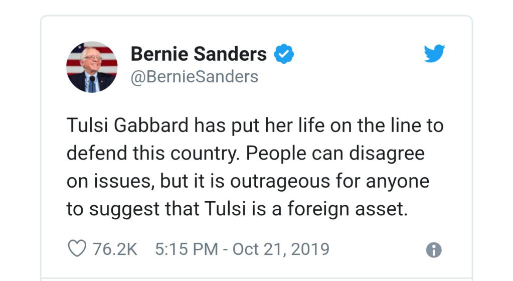 Hillary implies Tulsi is a Russian asset.   20191011