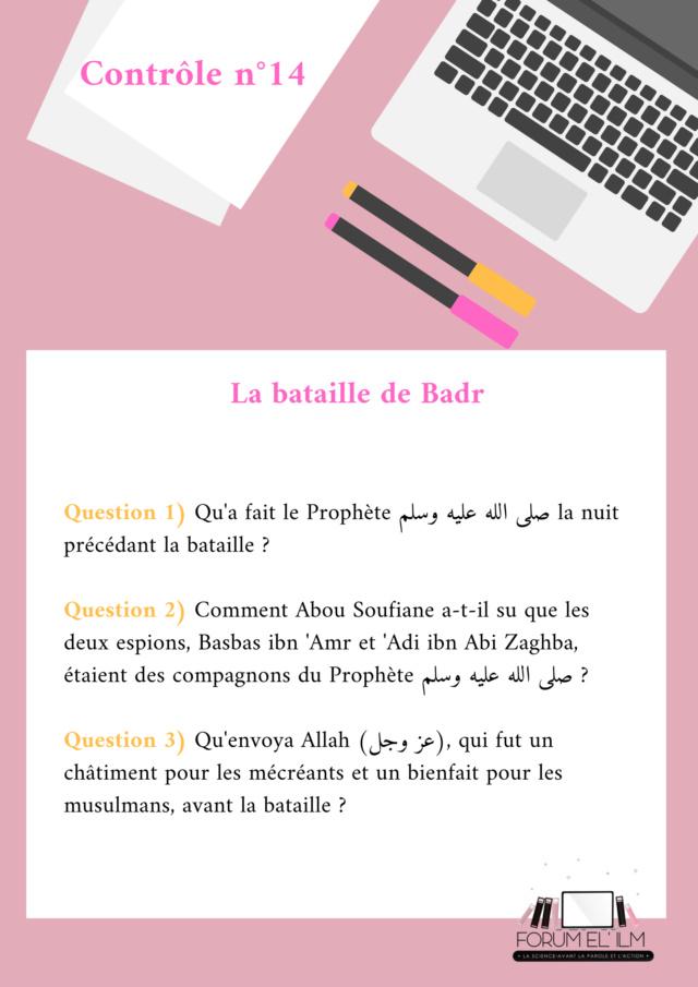 Les passages de la vie du Messager d'Allah (ﷺ)  10/14 ans - Devoirs _contr26