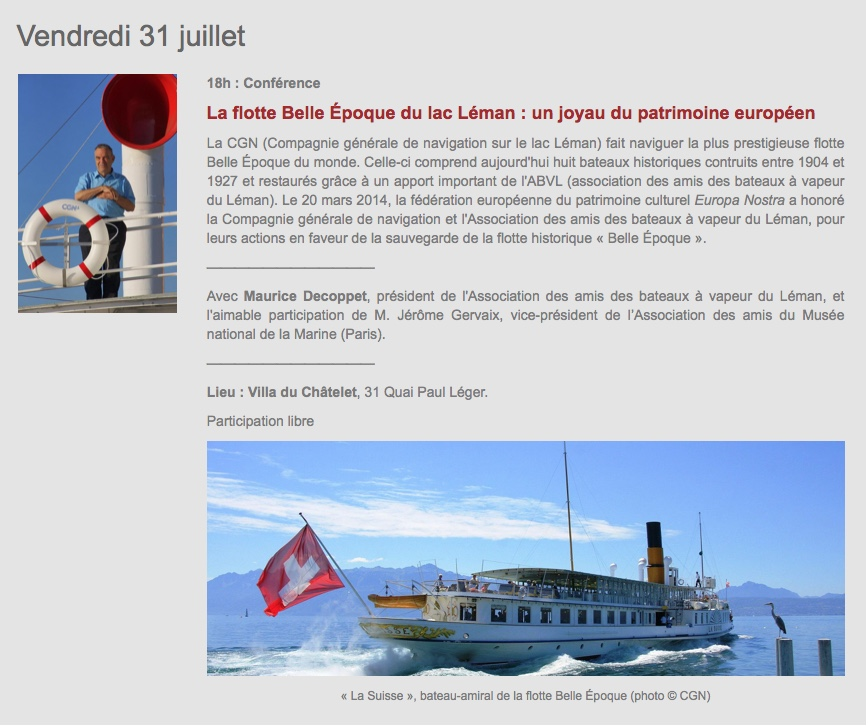 Conférence sur la flotte de la belle époque du lac Léman, le 31 Juillet 2020 18 heures villa du Châtelet à Evian-les-Bains Confzo10