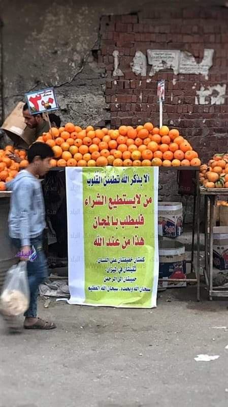 بائع برتقال يعرض فاكهته بالمجان لغير القادرين في القاهرة Eeeoee77