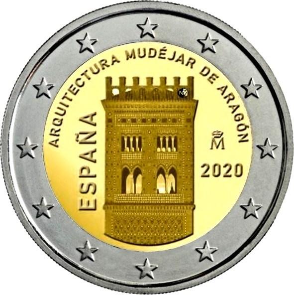 2 euros conmemorativos España 2020 Arquitectura Mudéjar de Aragón 202010